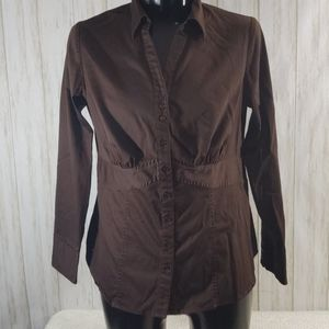 Lane Bryant Brown Tailored  Button Down…